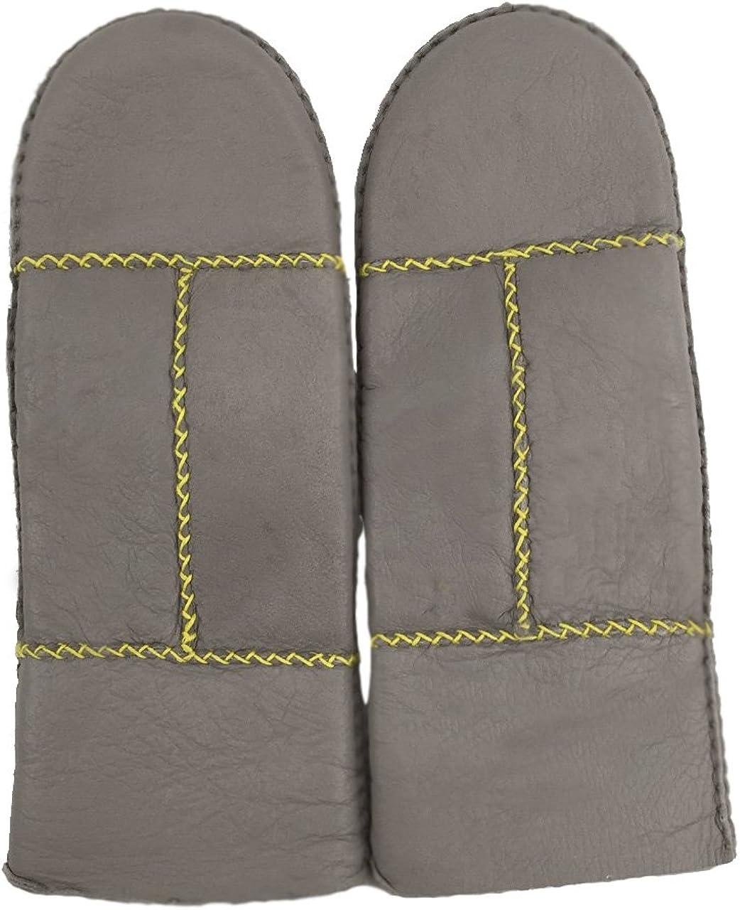YISEVEN Womens Winter Sheepskin Shearling Leather Mittens Wool Lined Herringbone