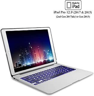 Keyboard Case for iPad Pro 12.9 (2nd Gen 2017), 12.9 (1st Gen 2015), 7 Color Backlit Keyboard, Wireless Bluetooth Connection, Auto Wake/Sleep, Pro 12.9 Case with Keyboard, Silver