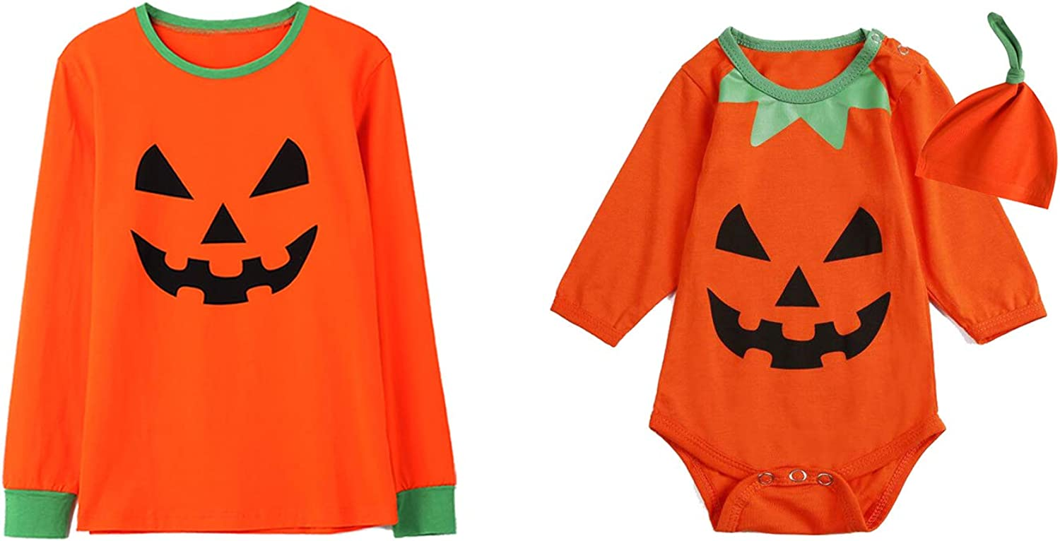 Baby Halloween Costume Outfit Pumpkin Brother Sister Matching Shirts