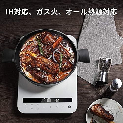 SKY LIGHT 両手鍋 ガス対応 鍋 IH 28cm 卓上鍋 ガラス蓋付 浅型 すき焼き鍋 チタン 5層コーティング 食器洗機対応