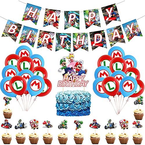 Mario Party Supplies 38 piezas - Banner de feliz cumpleaños, globos de cumpleaños de Super Mario Bros y adornos para cupcakes, kit de decoración de fiesta de Mario