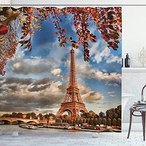 ABAKUHAUS Eiffelturm Duschvorhang, Eiffelturm mit Boot, mit 12 Ringe Set Wasserdicht Stielvoll Modern Farbfest & Schimmel Resistent, 175x200 cm, Dunkelorange Zimt Blau
