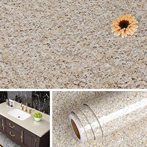 Livelynine Granit Klebefolie Möbel Marmor Folie für Tisch Küchenschrank Fensterbank Schreibtisch Tischplatte Küchen Folierung Arbeitsplatte Küche Möbelfolie Klebefolie Marmor Tischfolie Muster 40CMx2M