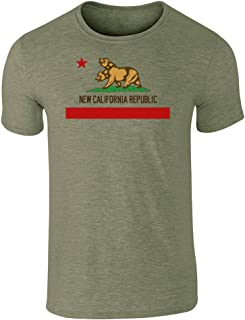 New California Republic Flag Heather Military Green 2XL Short Sleeve T-Shirt
