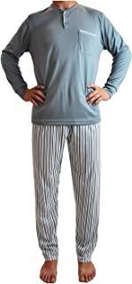 Pijama de Hombre de Algodón Gordo, Conjuntos Pijama Largo Calido para el Invierno, de diseño Elegante y Moderno.