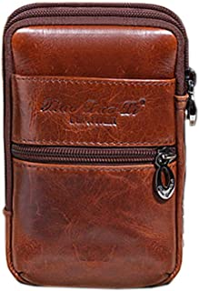 Hebetag Small Leather Belt Bag Phone Wallet Purse for Men Loop Holster Case Waist Pack Travel Messenger Crossbody Pouch with Hook