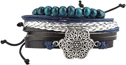 Geweven armband, lederen armband, mooie klassieke houten kraal lederen koord breien voor mannen cadeau vrouwen decoratie