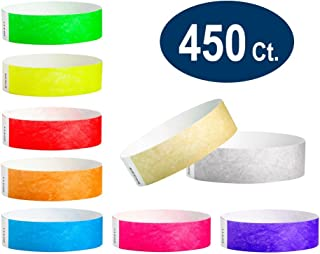 "WristCo Super Variety Pack 3/4"" Tyvek Wristbands - 9 Most Popular Colors - 450 Ct. Neon Green, Red, Blue, Orange, Yellow, Pink, Purple, Gold, Silver Paper Wristbands for Events"