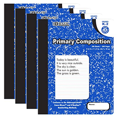 BAZIC 100 Sheets Primary Ruled Blue Marble Composition Book, Elementary Grade Comp Books Writing Journal Notebook with Lined Paper, for Kids Toddler Practice Learning, 4-Pack