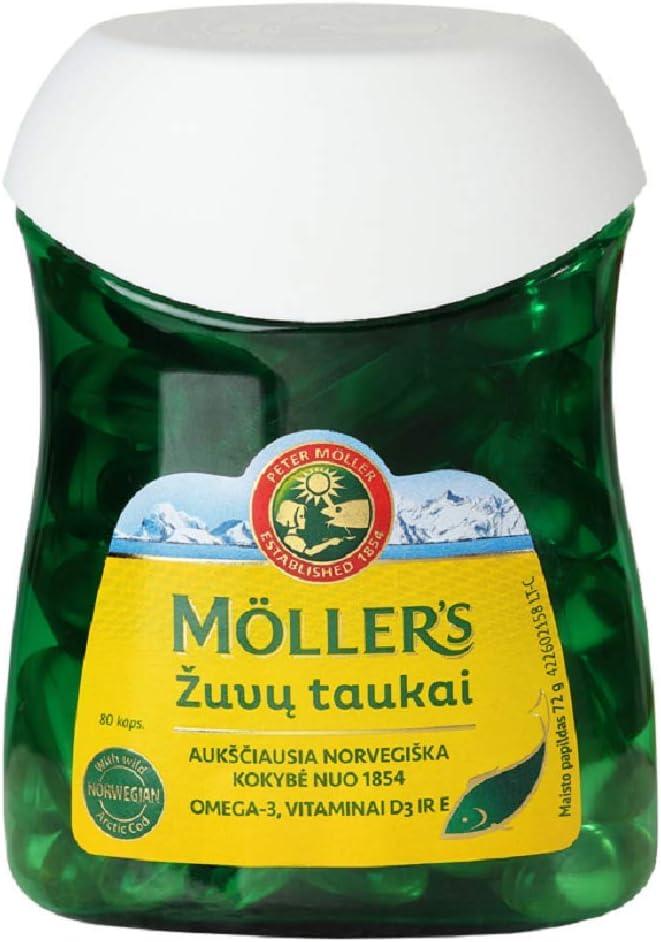 Moller's Aceite de hígado de pescado y bacalao 80 cápsulas de Omega 3, hecho en Noruega