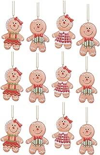 Gingerbread Man Christmas Tree Ornaments - Bulk Set of 12 - Boy/Girl Styles