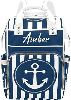 Diaper bag maritim blue white red rubber
