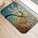 OPLJ Alfombra Antideslizante con patrón de árbol, esteras de Puerta, felpudos, Cocina al Aire Libre, baño, Sala de Estar, Alfombra, Alfombra A16, 40x60cm