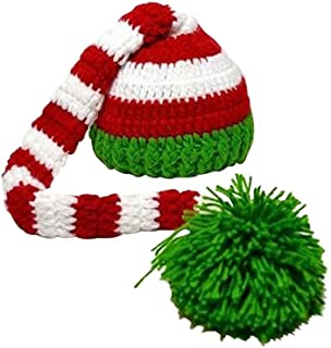 Christmas Baby Green Red Crochet ELF Long Tail Pom-pom Hat