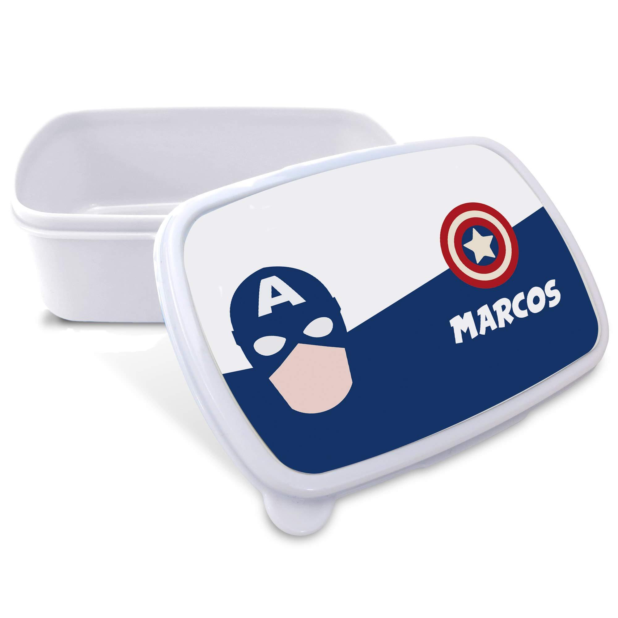 Caja Merienda Superhéroes Personalizada con Nombre. Regalo Friki. Vuelta al Cole. Varios Diseños a Elegir. Capitán América: Amazon.es: Hogar