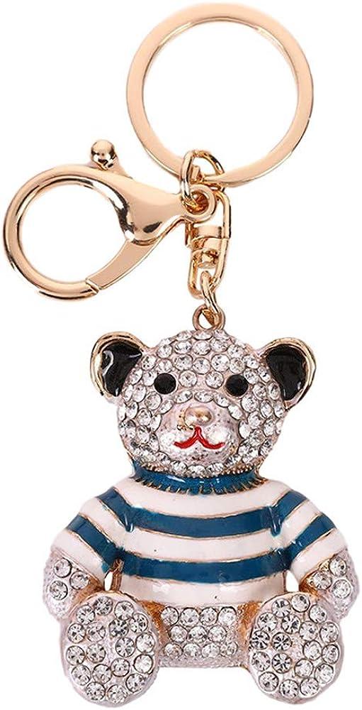 Cute Bear Rhinestones Keychain,Striped clothes Bling Keyring Pendant