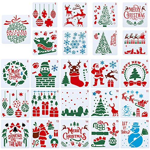 24 Stück Weihnachten Schablonen Set Weihnachten Malerei Kunststoff Schablonen Vorlage Wiederverwendbare Schneeflocke Weihnachtsmann Weihnachtsbaum Glocken Rentier Schablone für DIY Weihnachtsdeko