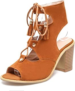 Bonrise Women's Gladiator Strappy High Heel Sandals Peep Toe Lace-up Tassel Caged Roman Dress Sandals Shoes