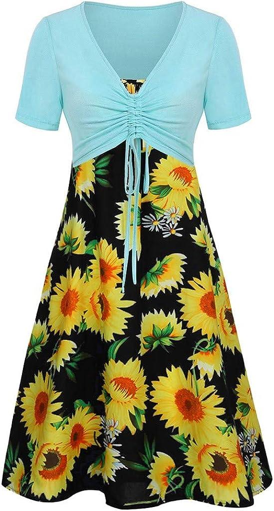 Kirbaez Womens Summer Casual Austin Mall Short Attention brand Sleeve Bow Pr Top Knot Floral