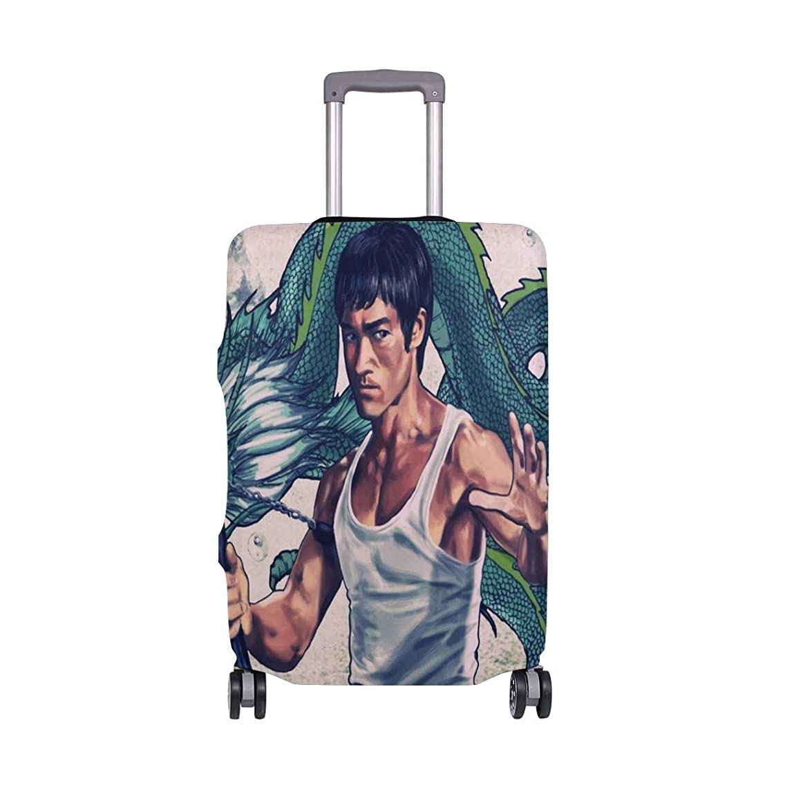 Bruce Lee And Dragon Travel Luggage Cover Luggage protector Spandex Suitcase Cove Protector For Travel Kids Men Women