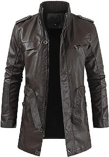 Rosatro Men Vintage Fashion Jacket Leather Full Sleeve Autumn Winter Stand Collar Club Coat