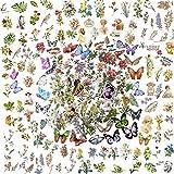 5 Estilos 300 PZ Pegatinas Scrapbooking Flores Plantas Animales Stickers Bullet Journal para DIY Manualidades Decoración Diario Agenda Álbumes de Recortes Calendarios Tarjetas de Felicitación Regalos