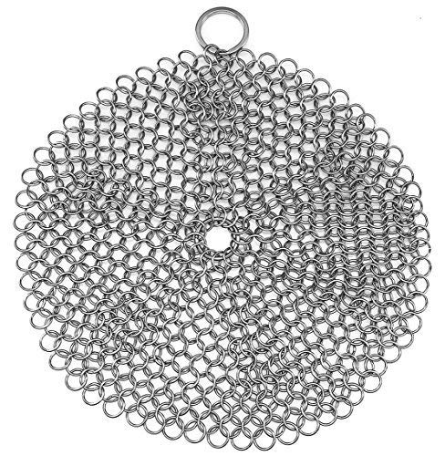 Stainless Steel Cast Iron Skillet Cleaner Chainmail Cleaning Scrubber With Hanging Ring for Cast Iron Pan,Pre-Seasoned Pan,Griddle Pans, BBQ Grills and More Pot Cookware-Round 7 Inch Diameter