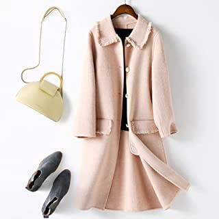 Winter Clothing for Women Winter Cashmere Coat Women Double-Faced Wool Windbreaker Coat Medium Long Jacket Ladies Coat (Color : Pink, Size : S)