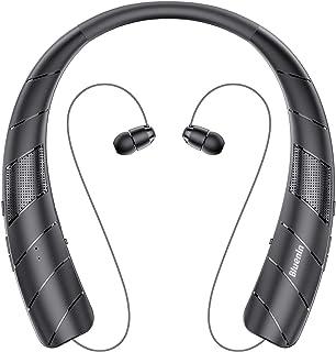 ネックスピーカー ワイヤレス Bluetoothイヤホン2 in 1 ウェアラブル/15時間連続使用/Bluetooth5.0 搭載/伸縮式ケーブル 音楽/通話/テレビなど適用 HI-FI 3Dステレオ マイク内蔵 首かけスピーカー (ブラック)