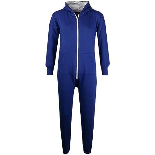074dc18956 A2Z 4 Kids® Unisex Kids Girls Boys Plain Color Fleece Hooded Onesie All In  One