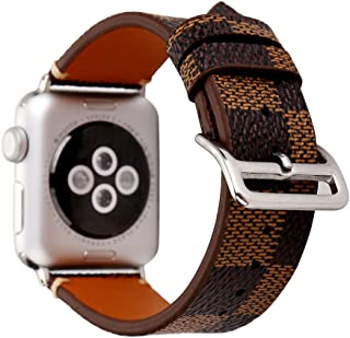 NewSilkRoad 42mm Classic Tartan Pattern Leather Replacement Watch Band Strap with Stainless Metal Buckle Compatible for Apple Watch Series 3,Series 2, Series 1, Sport & Edition (E)