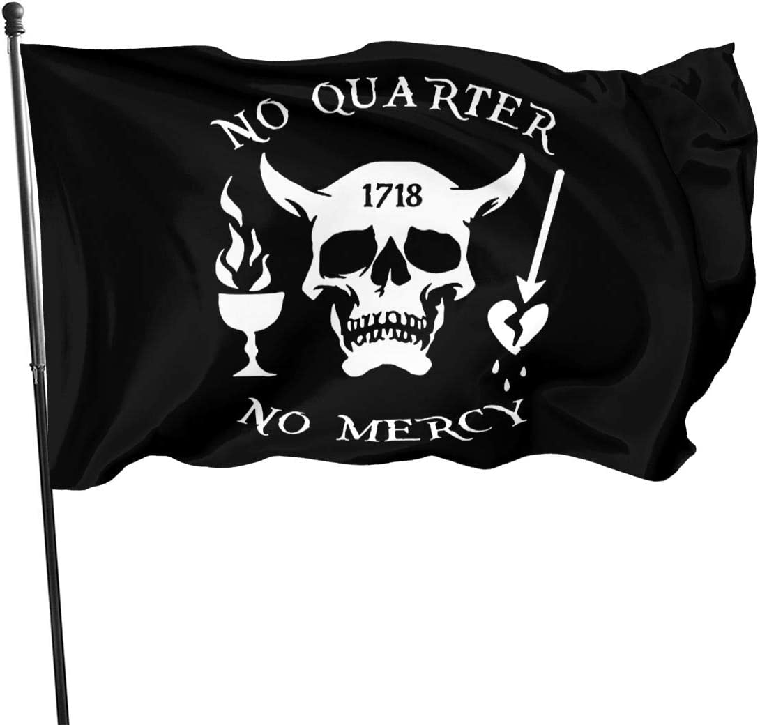BLACKBEARD LIVES FLAG Size 5x3 Feet SKULL AND PIRATE FLAGS