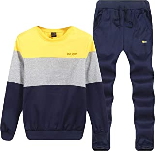 Men Tracksuit Athletic Crewneck Sweatsuit Blouse Pants Sets 2 Piece