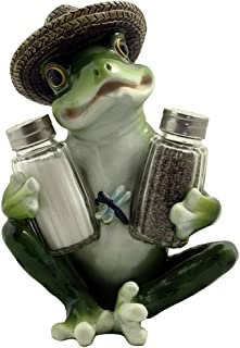 Decorative Country Frog & Dragonfly Glass Salt and Pepper Shaker Set with Display Stand Figurine Sculpture for Country Kitchen Table Decor or Whimsical Dining Room Decorations & Collectibles As Unique Housewarming Gifts by Home-n-Gifts