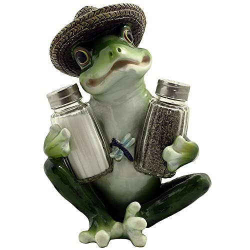Decorative Country Frog U0026 Dragonfly Glass Salt And Pepper Shaker Set With  Display Stand Figurine Sculpture