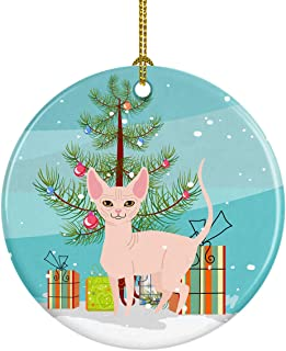 Caroline's Treasures Sphynx Cat Merry Christmas Tree Ceramic Ornament, Multicolor