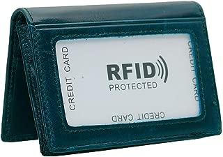 Hibate Slim Leather Credit Card Holder ID Case Wallet RFID Blocking for Men Women - Blue