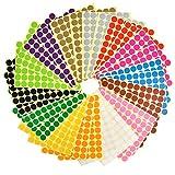 JAOMON 1960Pcs Pegatinas Redondas Etiquetas Adhesivas, Pegatinas De Puntos Autoadhesivas De 19 Mm Puntos De Colores Adhesivos Puntos Adhesivos De FáCil Despegue Colores Surtidos 28 Hojas (14 Colores)