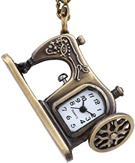 New Vintage Personality Bronze Small Sewing Machine Pocket Watch Sewing Machine Pocket Watch Necklace Gift for Children Yang (Color : Bronze)