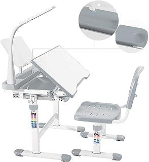 mecor Bureaux pour Enfants Grises avec chaises et tiroirs, Bureaux pour étudiants réglables en Hauteur, Bureaux multifonct...