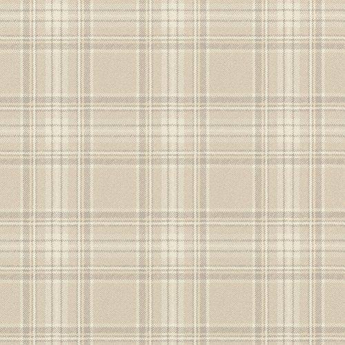 rasch Tapete 861716 aus der Kollektion b.b home passion VI – Karierte Vliestapete im schottischen Stil – Beige, Creme und Grau – 10,05m x 53cm (L x B)