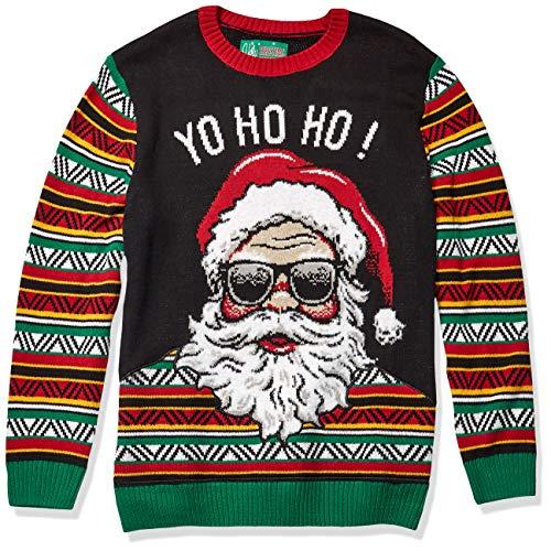 Ugly Christmas Sweater Company Men's Assorted Crew Neck Xmas Sweaters, Black Coogi Santa Applique', Small
