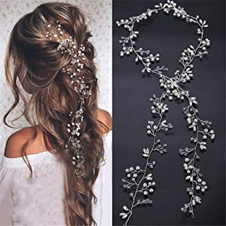 Wedding Hair Vine Long Bridal Headband Hair Accessories for Bride and Bridesmaid (100cm / 39.3inches) (Silver)