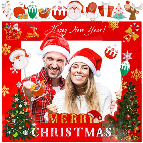 Konsait Large Christmas Photo Booth Frame and Photo Booth Props, Selfie Picture Frame with 10pcs DIY Photo Booth Props, Xmas Party New Year Holiday Favors Funny Photo Decoration Supplies