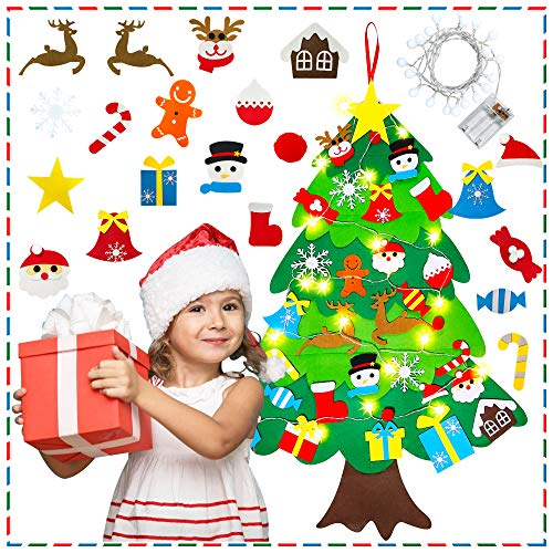 Felt Christmas Tree, 3.3ft DIY Felt Christmas Tree with LED Lights for Toddlers & Kids - Christmas Decorations Gifts Set with 31 Wall Hanging Ornaments, New Year Xmas Tree Door Wall Decorations