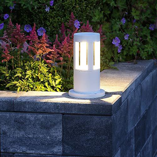 LED-Pollerleuchte 25cm Höhe weiß | Alu Außenleuchte 10W 450lm | IP65 wasserfest | Leuchte inkl. Warmweissen LED-Leuchtmittel | Sockelleuchte + gratis Spannungsprüfer
