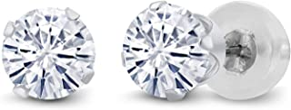 14K White Gold Stud Earrings Set Round Forever Classic Very Light (IJK) 1.00 ct (DEW) Created Moissanite from Charles & Colvard