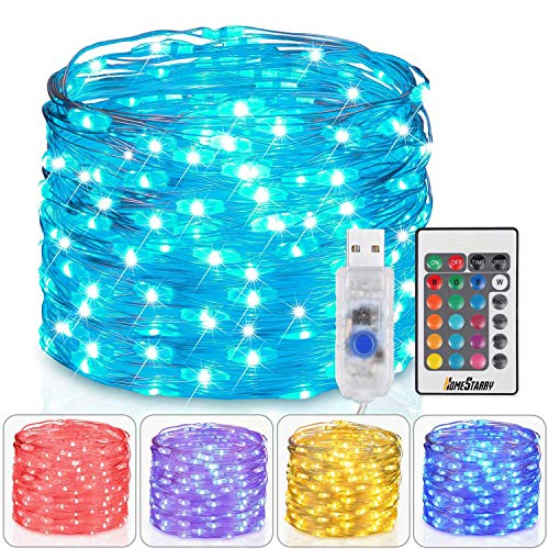 Homestarry Fairy Lights USB Plug In String Lights with Remote 33ft 100LEDs, 16 Color Changing Lights Twinkle Firefly Lights for Bedroom Party Wedding Christmas Tapestry, Multicolor Colors