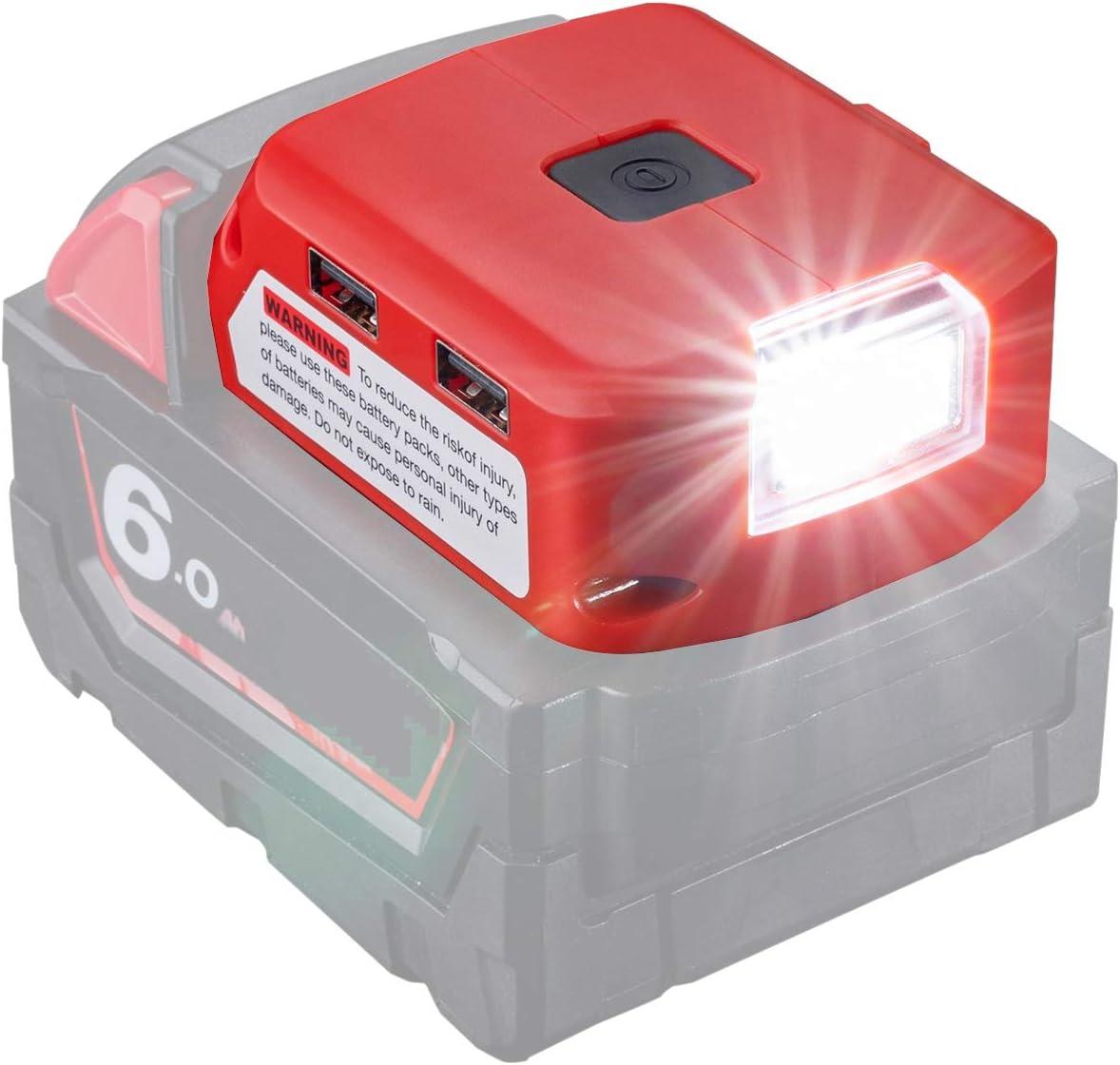 Adaptador de batería para batería Milwaukee de 18 V de iones de litio, conector CC y faro de trabajo LED y cargador dual USB, fuente de alimentación compatible con Milwaukee 49-24-2371 M18