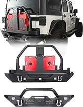 Hooke Road Jeep JK Front & Rear Bumper w/Spare Tire Carrier Kit for Jeep Wrangler JK 2007-2018